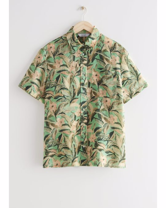 & Other Stories Boxy Floral Print Shirt Green Florals