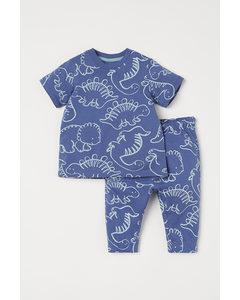 2-teiliges Baumwollset Blau/Dinosaurier