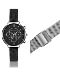Ivy Chronograph Silver Watch With Extra Strap