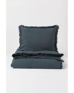 Flounce-trim Duvet Cover Set Anthracite Grey