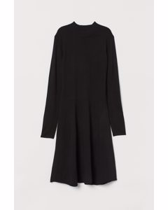 Knitted Turtleneck Dress Black