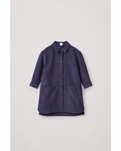 Cotton Corduroy Shirt Dress Navy