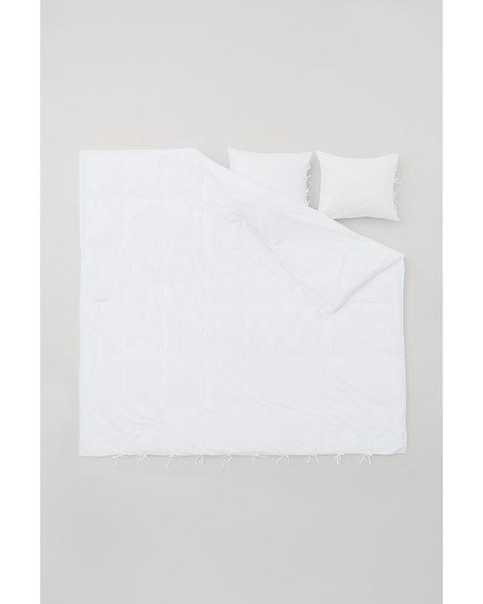 H&M HOME Broderie Duvet Cover Set White
