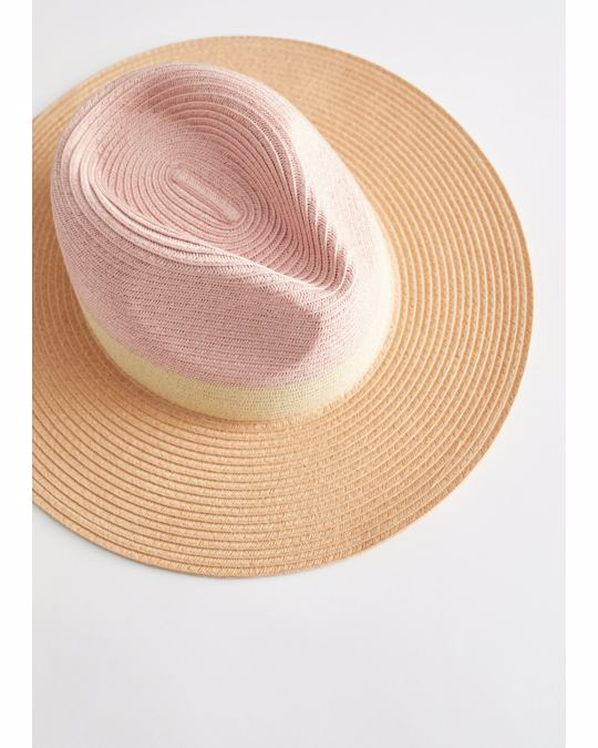 & Other Stories Colour Block Straw Hat Beige, Pink