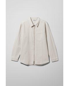 Zip Denim Shirt Off White