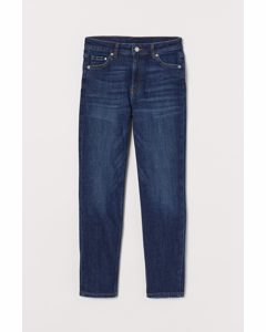 Girlfriend Regular Ankle Jeans Mörk Denimblå