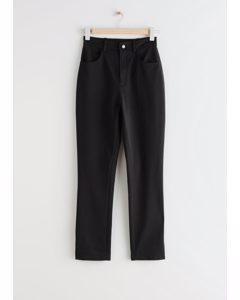 Fitted Side Slit Stretch Trousers Black