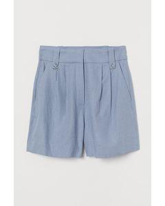Shorts aus Leinenmischung Hellblau