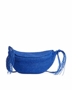 Straw Crossbody Bag Blue