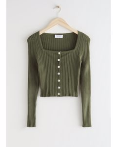Fitted Ribbed Button Up Cardigan Dark Green