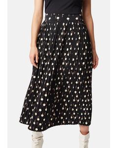 Black Geometric Printed Pleated Midi Falls Skirt