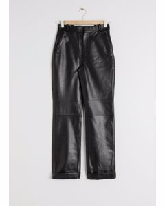 Cuffed Leather Trousers Black