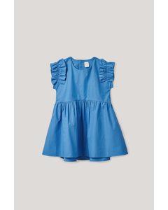Frilled-sleeved Dress Blue