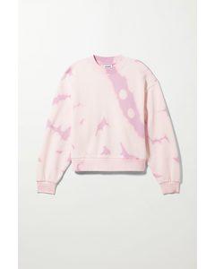 Sweatshirt Amaze mit Print Rosa mit Batikoptik