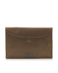 Gucci Leather Clutch Bag Brown