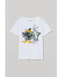 T-shirt Med Tryck Vit/looney Tunes