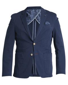 Washed Cotton Stretch Blazer Blue