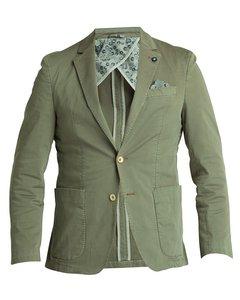 Washed Cotton Stretch Blazer Green