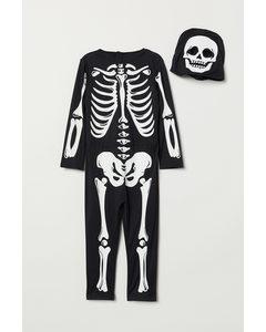 Maskeraddräkt Svart/skelett