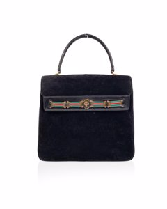 Gucci Vintage Black Suede Satchel Bag Handbag With Enamel Stripes