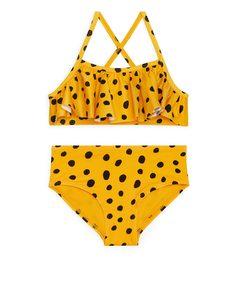 Bikini mit Rüschen Gelb/Punkte