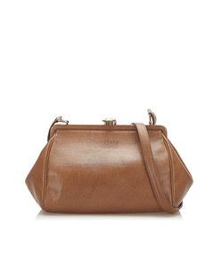 Versace Frame Leather Crossbody Bag Brown