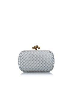 Bottega Veneta Intrecciato Knot Silk Clutch Bag White