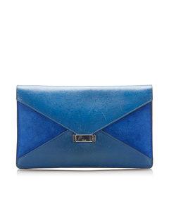 Celine Diamond Leather Clutch Bag Blue