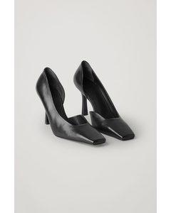 Square Toe Leather Pumps Black