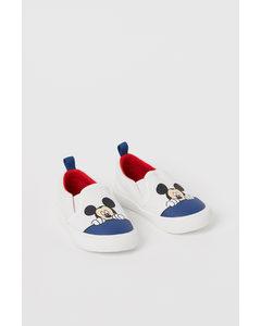 Slip On-sneakers I Canvas Vit/musse Pigg