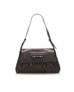 Ferragamo Gancini Leather Shoulder Bag Brown