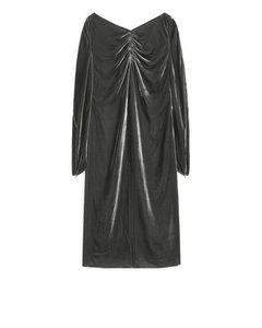 Ruched Velvet Dress Grey