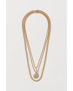 3er-Pack Halsketten Goldfarben