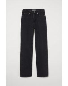 Straight High Jeans Zwart