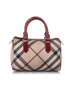 Burberry Supernova Check Canvas Boston Bag Brown