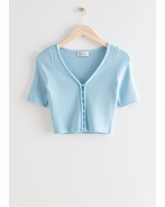 Fitted Marble Button Rib Cardigan Blue
