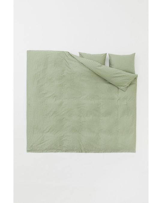 H&M HOME Cotton Satin Duvet Cover Set Pistachio Green