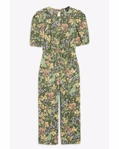 Open-back Jumpsuit Leaf Print