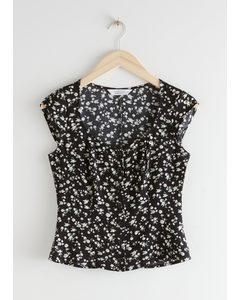 Scoop Neck Cap Sleeve Crepe Top Black Floral
