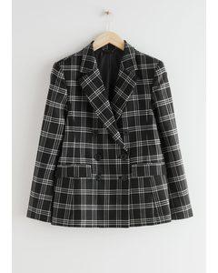 Wool Blend Plaid Blazer Black Checks