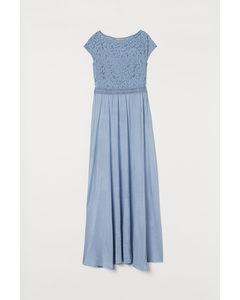 Maxi-jurk Met Kant Ijsblauw