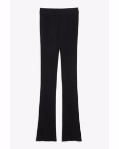 Soft Ribbed Trousers Black