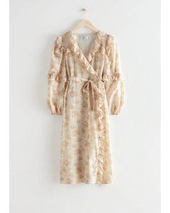 Voluminous Ruffle Wrap Midi Dress Beige Print