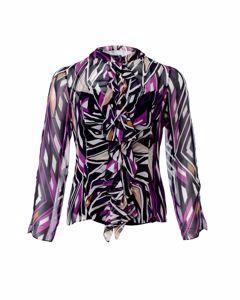 Printed Ruffle Front Blouse