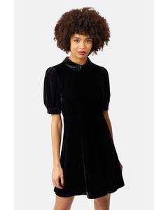 Peter Pan Collar Velvet Grace Dress In Black