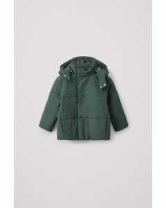 Puffer Coat With Removable Hood Green