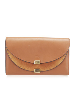 Chloe Georgia Leather Long Wallet Brown