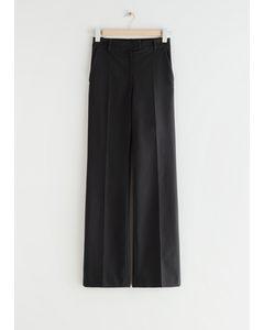 Fitted Press Crease Zip-cuff Trousers Black