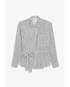 Bluse mit Bindegürtel Schwarz/weiß gestreift