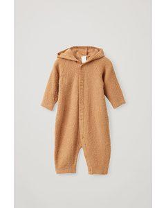 Hooded Wool Babygrow Beige